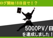 ブログ開始18日目で5000PV/日を達成しました
